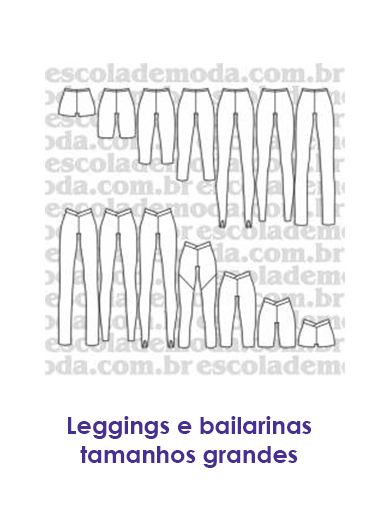 Moldes de leggings e bailarinas plus size